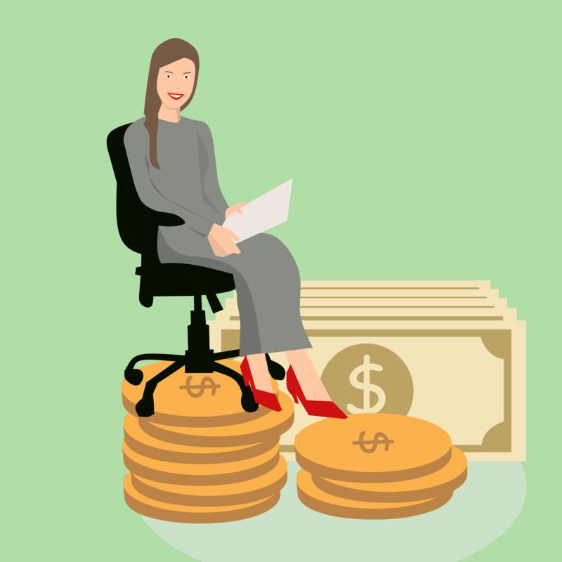 אישה יושבת על כסף
